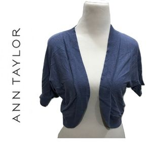 Ann Taylor Size M Blue Shrug Sweater NEW Open
